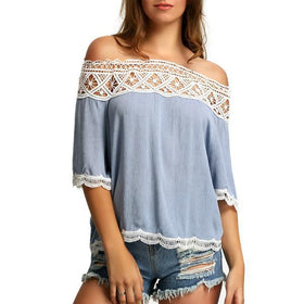 LA Fashion District LLC blue / L Off Shoulder Blouses Casual Crochet Lace Halter Shirts Cotton Blouse Patchwork Tee W1