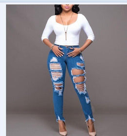 LA Fashion District LLC Blue / M Elegant style long jeans high waist sexy denim pants ladies hole bodycon jeans SY1112