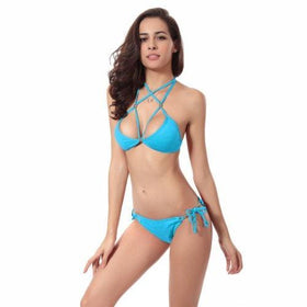 LA Fashion District LLC Blue / S Halter Bikini Brazilian Swimwear Swimsuit Beach Wear Bathing Suit Triangle Bikini Set