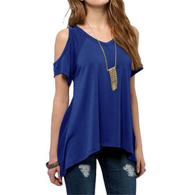 la-fashion-district-llc Blue / S Off Shoulder Tops For Women Summer Short Sleeve Shirt Womens Tops Fashion