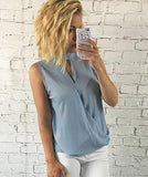 LA Fashion District LLC Blue / S Womens Slim Casual Chiffon Blouse Sleeveless Shirt