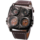 LA Fashion District LLC BROWN Watches Cool Sports Casual Quartz Wristwatch Leather Strap Oversize Military Compass Dial