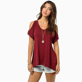la-fashion-district-llc Burgundy / S Off Shoulder Tops For Women Summer Short Sleeve Shirt Womens Tops Fashion