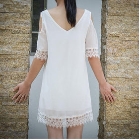 LA Fashion District LLC CELMIAChiffon Dress V Neck Backless Off Shoulder Half Sleeve Lace Crochet