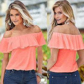LA Fashion District LLC Chiffon Off Shoulder Flouncing Shirt Tops Sexy Blouse