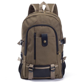 LA Fashion District LLC Coffee Canvas Men's Backpacks Outdoor Travel Bags Vintage Style Design School Casual Backpack