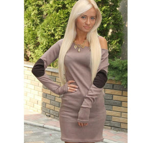 LA Fashion District LLC Coffee / L Fashion Sexy Women Off Shoulder Long Sleeve Short Mini Dress Casual Clubwear Dresses LL2