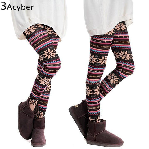 LA Fashion District LLC Colorful Print Thick Cotton Blends Fitness Skinny Leggings  HOT SEXY  Snowflakes Leggings