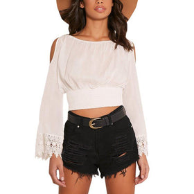 LA Fashion District LLC Crochet Short Sleeve Backless Off Shoulder Ruffle Blouse Short Crop Split Tops