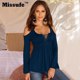 LA Fashion District LLC Dark Blue / XXL Missufe 6 Colors S-5XL Plus Size Tops Patchwork Flare Sleeve Shirts Lace Up Off Shoulder Blusas