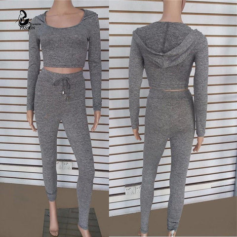 LA Fashion District LLC dark grey / L cotton two pieces set women club wear clothing  crop tops and pencil pants long sleeve two pieces