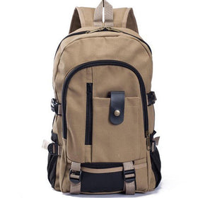 LA Fashion District LLC Dark Khaki Canvas Men's Backpacks Outdoor Travel Bags Vintage Style Design School Casual Backpack