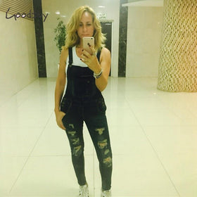 la-fashion-district-llc Denim Jumpsuits Overalls Sexy Jeans Office Casual Hole Pocket Spring Pencil Pants