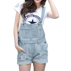 LA Fashion District LLC Denim Rompers Strap Pockets Frayed Ripped Holes Overalls Rompers s Jumpsuit Shorts Jeans