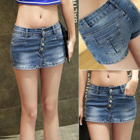la-fashion-district-llc Denim Skorts Shorts Skirt Woman New Fashion Double Button Slim Sexy Ladies Shorts Jean