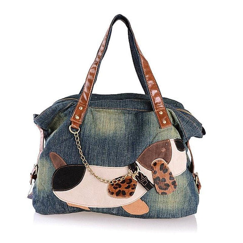 LA Fashion District LLC denim tote bags high quality casual big blue jeans shoulder bags with cute animal puppy