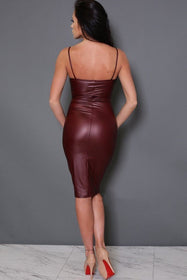 LA Fashion District LLC Dress Ladies PU Leather Dress Sleeveless Bodycon Backless Midi Dress Red