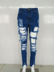 LA Fashion District LLC Elegant style long jeans high waist sexy denim pants ladies hole bodycon jeans SY1112