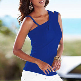 LA Fashion District LLC European Fashion Blouses Ladies Casual Stretch Solid Blouse Slim Tops Off Shoulder Sleeveless