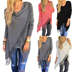 LA Fashion District LLC Europestyle knitted sweater poncho slim long classic slash girl poncho jackets with tassel