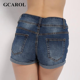 la-fashion-district-llc GCAROL Ripped Denim Casual Mid Waist Cuff Jeans Shorts Summer Spring Autumn Plus Size 32 Shorts