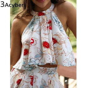 LA Fashion District LLC girls Floral Printed Off Shoulder Crop Top Blouse Bowtie Shorts Two-Piece Outfit Sets S/M/L/XL