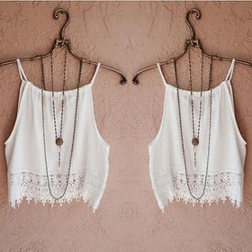 LA Fashion District LLC girls Fringes Tassels Chiffon Vest  Lady  Sleeveless Camisole Casual Crop  Tops