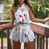 LA Fashion District LLC girls White / S Floral Printed Off Shoulder Crop Top Blouse Bowtie Shorts Two-Piece Outfit Sets S/M/L/XL