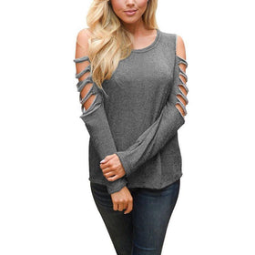 LA Fashion District LLC Gray / S Off Shoulder Round Collar Hollow Out Long Sleeve Casual