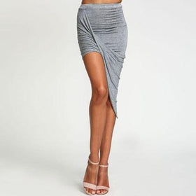 la-fashion-district-llc Gray / XS Skirt Hem Cross Fold Sexy Wrap Banded Waist Draped women skirt Cut Out Asymmetrical Pencil