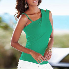 LA Fashion District LLC Green / M European Fashion Blouses Ladies Casual Stretch Solid Blouse Slim Tops Off Shoulder Sleeveless