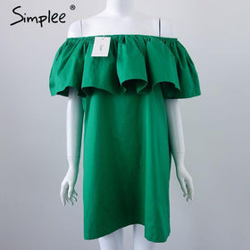 LA Fashion District LLC Green / One Size Ruffles slash neck women dress Summer style off shoulder dresses vestidos White tube