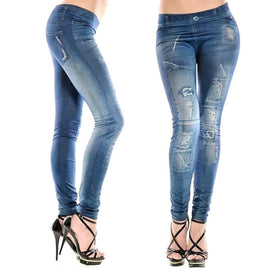 la-fashion-district-llc High Waist Jeans Painting Denim Ripped  Jean Pants Legging Skinny Jegging Stretchy