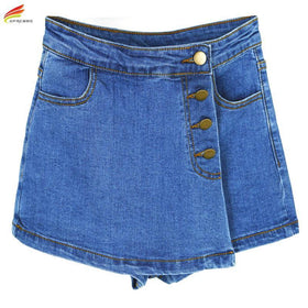 la-fashion-district-llc High Waisted Denim Shorts For Women Skorts Skirts Slim Blue Short Jeans Vintage Short Skort