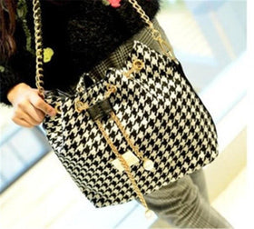 LA Fashion District LLC Houndstooth / (30cm<Max Length<50cm) Lady Bucket Bag  Chains Shoulder Handbags Women's Vintage Messenger Bags Bolsa