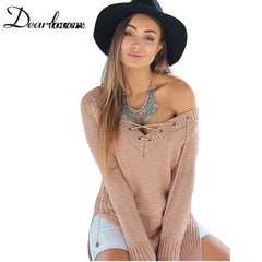 LA Fashion District LLC Khaki Casual Long Pullover Loose Fit Side Split Korean Sweaters Winter Sweater Sueter