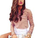 LA Fashion District LLC Lace Casual Long Sleeve Chiffon Blouses Patchwork Shirt Sexy Ladies Blouse Tops  01B0155