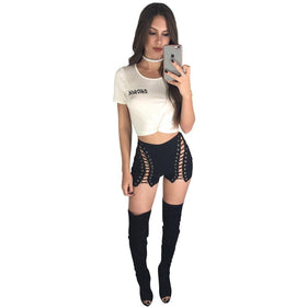 la-fashion-district-llc Lace Up Denim Shorts Women Hollow Out Pocket White Short Jeans Summer Casual Streetwear
