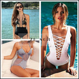 LA Fashion District LLC lace up one piece swimwear swimsuit bathing suit for women hollow out monokini bodysuit