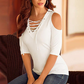 LA Fashion District LLC Lace Up V neck Blouse Off Shoulder Half Sleeve Slim Summer Tops Plus Size White Gray Shirts