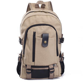 LA Fashion District LLC Light Khaki Canvas Men's Backpacks Outdoor Travel Bags Vintage Style Design School Casual Backpack