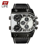 LA Fashion District LLC Mens Watches Top Brand Luxury Leather Strap Mens Watch Sports Multi Time Zone Quartz Male