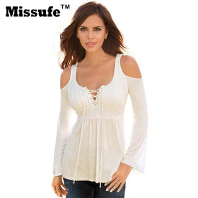 LA Fashion District LLC Missufe 6 Colors S-5XL Plus Size Tops Patchwork Flare Sleeve Shirts Lace Up Off Shoulder Blusas