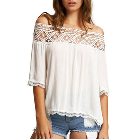 LA Fashion District LLC Off Shoulder Blouses Casual Crochet Lace Halter Shirts Cotton Blouse Patchwork Tee W1