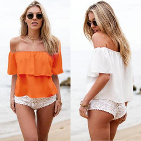 LA Fashion District LLC Off Shoulder Boho Chiffon Blouse Vest Shirt Crop ladies fashion Blouses