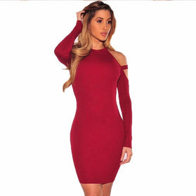 LA Fashion District LLC Off Shoulder Club Party Dresses Long Sleeve Bodycon Elastic Kim Kardashian