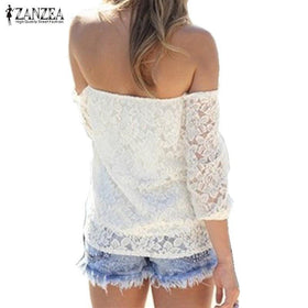 la-fashion-district-llc Off Shoulder White Slash Neck Long Sleeve Hollow Out Crochet Shirts