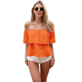 LA Fashion District LLC Orange / L Women Girl Off Shoulder Chiffon Boat Neck Casual Tops