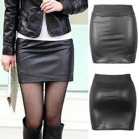 la-fashion-district-llc Pencil Slim Stretch Bodycon High Waist OL Mini Short Skirt Party Club Soft PU Cloth