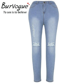 LA Fashion District LLC Picture / S Burvogue Skinny Lifting Jeans Pencil Jeans Full Length Hole Style Jeans Leggings Ripped USASTOC
